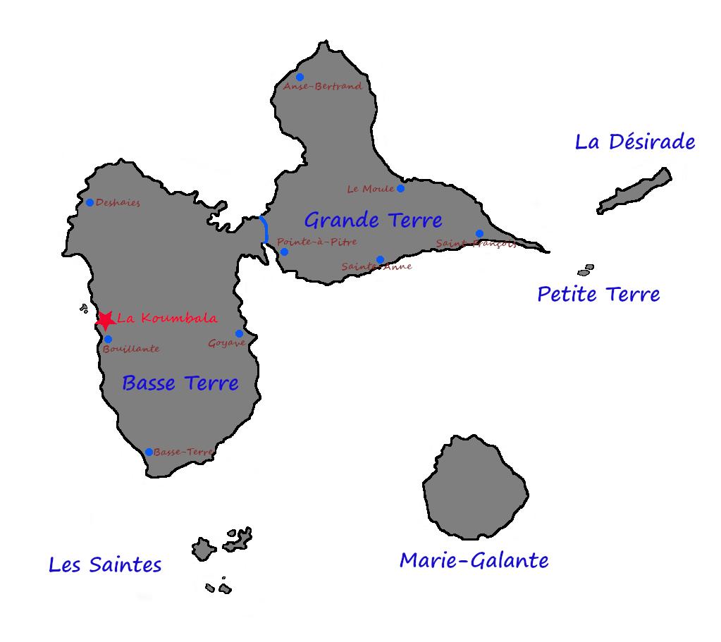 Situation de La Koumbala en Guadeloupe